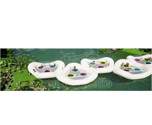 新型户外水上游乐设备,充气蹦床桥,水上乐园设备定制