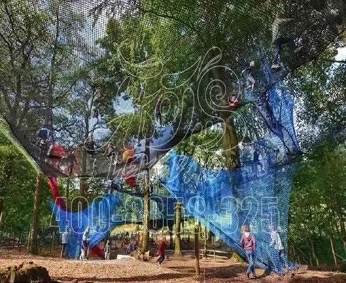 树上蹦床景区游乐,丛林绳网乐园,丛林攀爬网定制设计